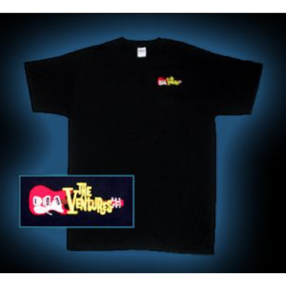 The Ventures Flaming Guitar / Logo Black Tee